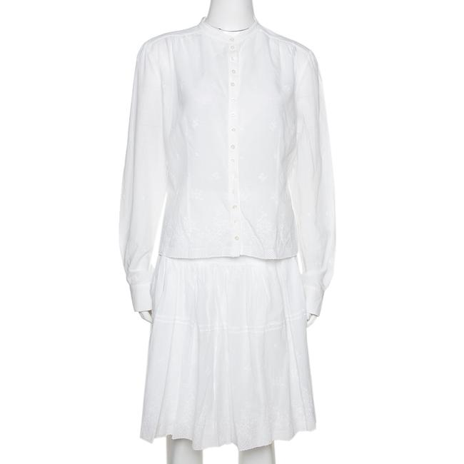 Item - L White Embroidered Cotton Skirt & Top Set