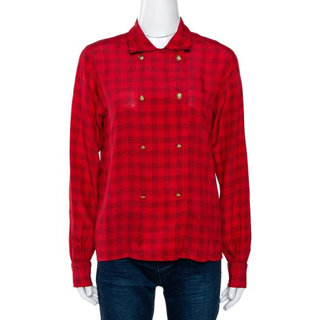 Item - Red Printed Silk Button Front Long Sleeve Shirt M Blouse