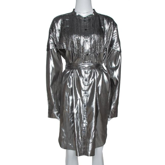 Item - L Metallic Silver Silk Lamé Belted Shirt Dress Belt
