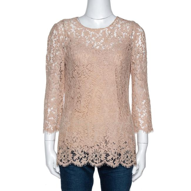 Item - Dolce & Gabbana Beige Floral Lace Scalloped Long Sleeve Blouse