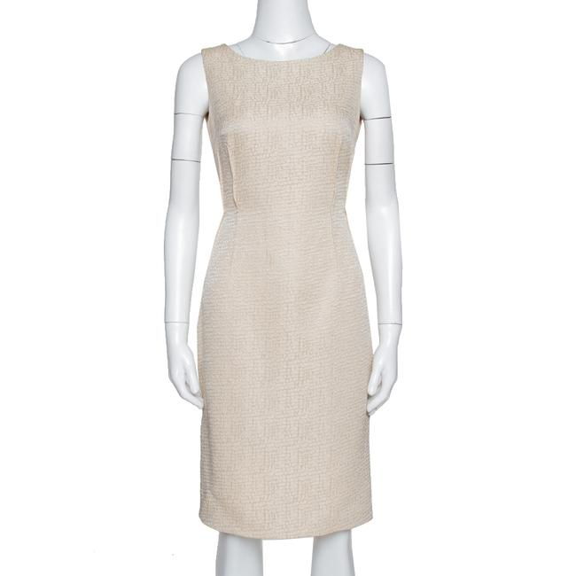 Item - Beige Textured Sleeveless Sheath