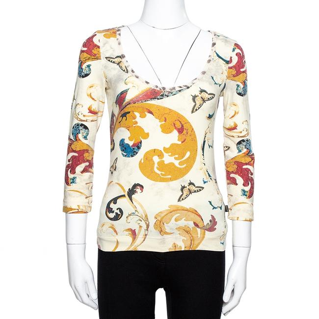 Item - Jersey Cream Butterfly Print Long Sleeves Blouse
