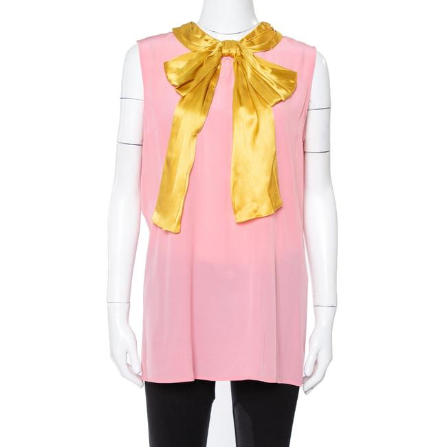 Item - Pink Silk Contrast Pussy Bow Sleeveless Blouse