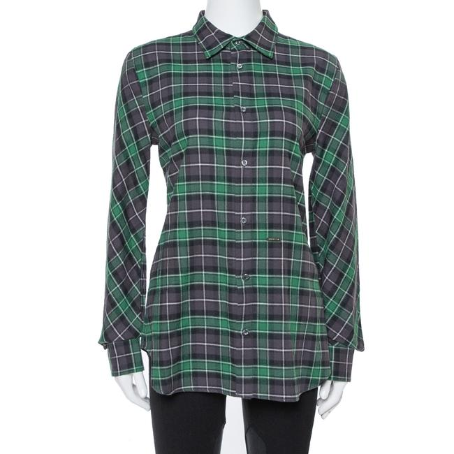Item - Green & Grey Cotton Checked Flannel Shirt M Blouse