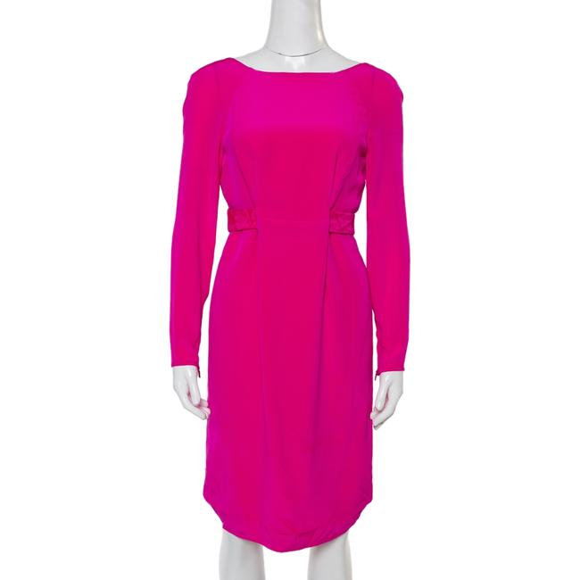 Item - Fuschia Pink Silk Detail Long Sleeve Dress S Belt