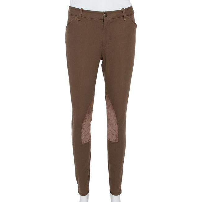 Item - Brown Stretch Cotton Leather Patch Trousers M Pants