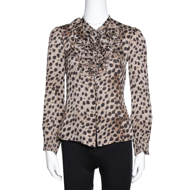 Item - Brown Leopard Print Silk Ruffled Blouse