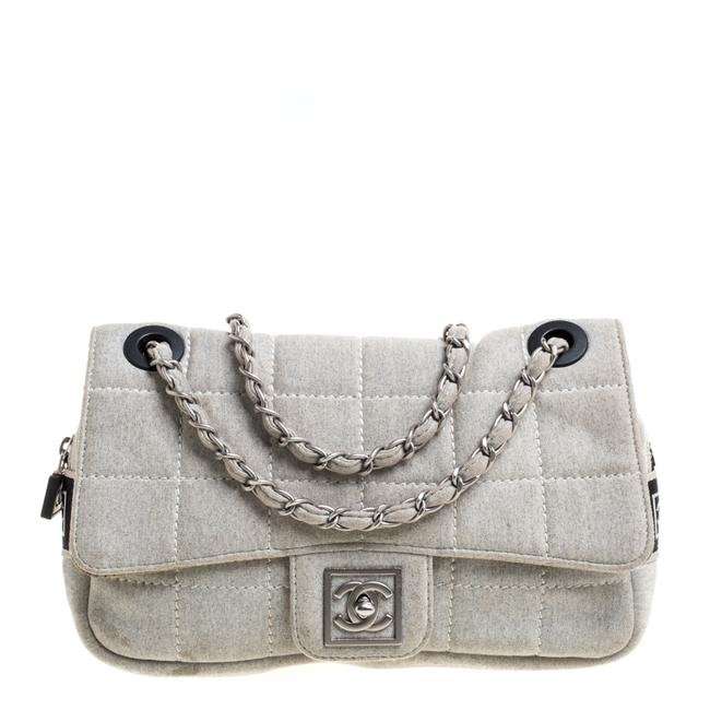 Item - Classic Flap Light Grey Square Quilt Fabric Sport Line Shoulder Bag