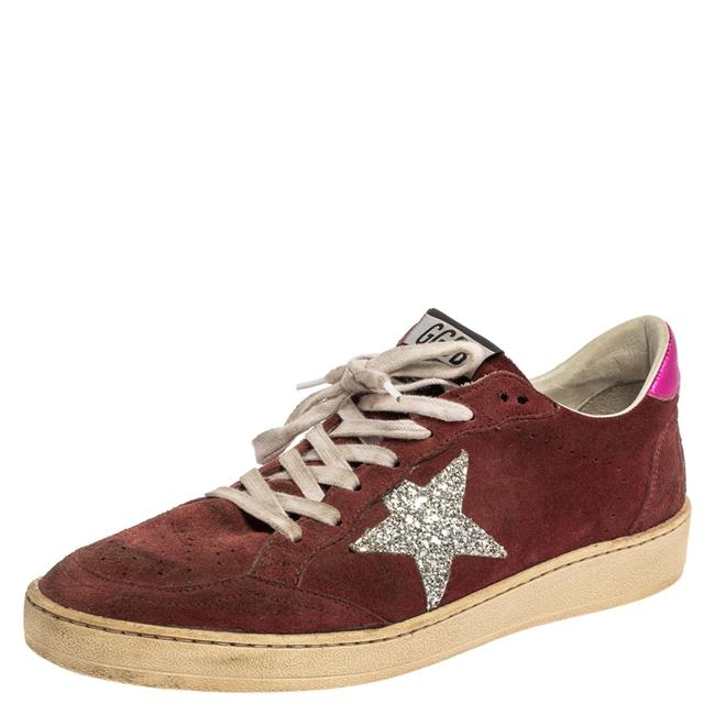 Item - Burgundy Suede Leather and Glitter Ball Star Lace Up Sneakers Size 40 Athletic