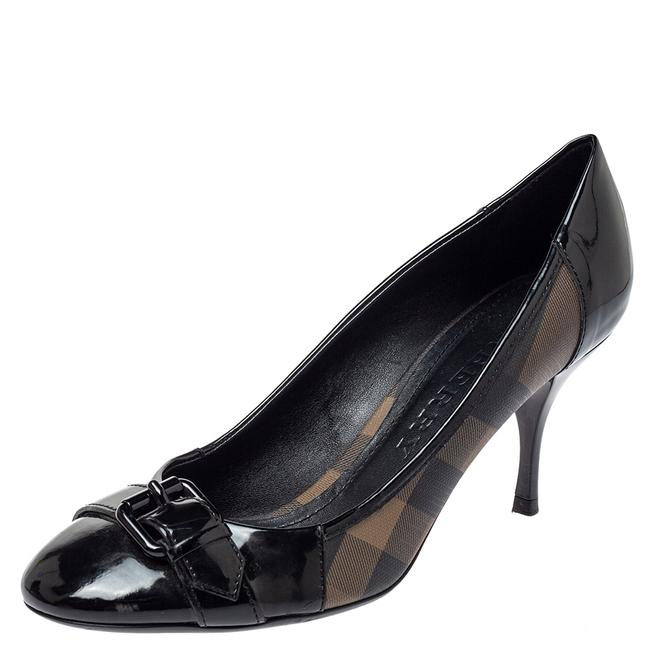 Burberry Black Nova Check Coated Canvas and Patent Leather Buckle Round Size 39 Pumps Burberry Black Nova Check Coated Canvas and Patent Leather Buckle Round Size 39 Pumps Image 1