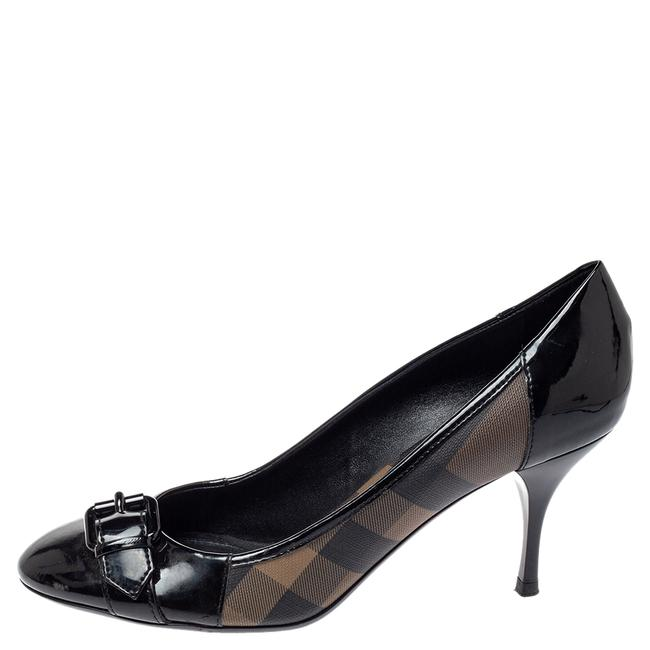 Burberry Black Nova Check Coated Canvas and Patent Leather Buckle Round Size 39 Pumps Burberry Black Nova Check Coated Canvas and Patent Leather Buckle Round Size 39 Pumps Image 2