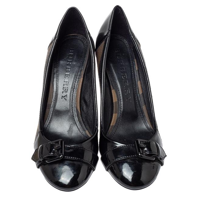 Burberry Black Nova Check Coated Canvas and Patent Leather Buckle Round Size 39 Pumps Burberry Black Nova Check Coated Canvas and Patent Leather Buckle Round Size 39 Pumps Image 3