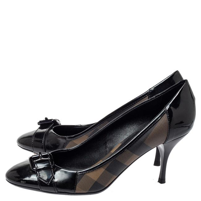 Burberry Black Nova Check Coated Canvas and Patent Leather Buckle Round Size 39 Pumps Burberry Black Nova Check Coated Canvas and Patent Leather Buckle Round Size 39 Pumps Image 4
