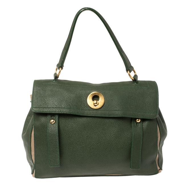 Item - Muse Two Green/Beige Leather and Canvas Medium Bag Wristlet