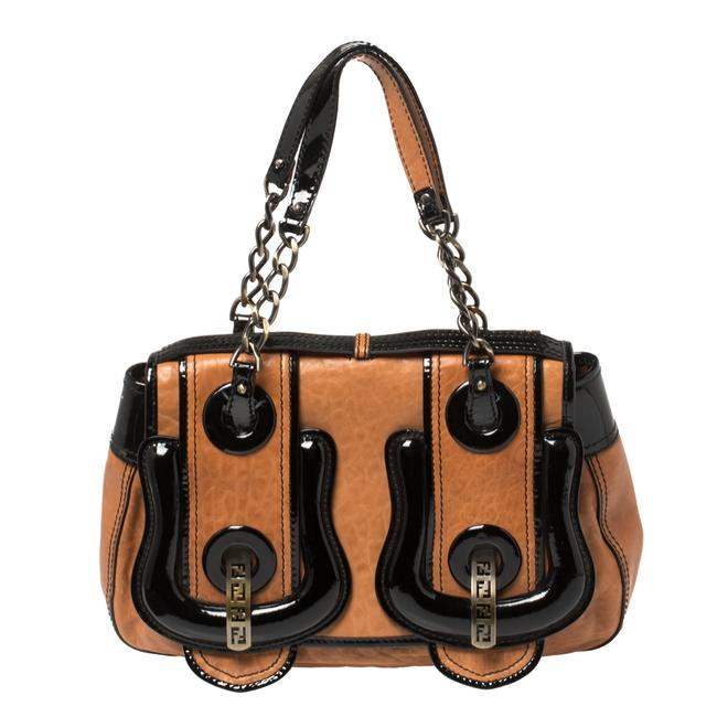 Item - Black/Brown Patent Leather and Leather B Shoulder Bag