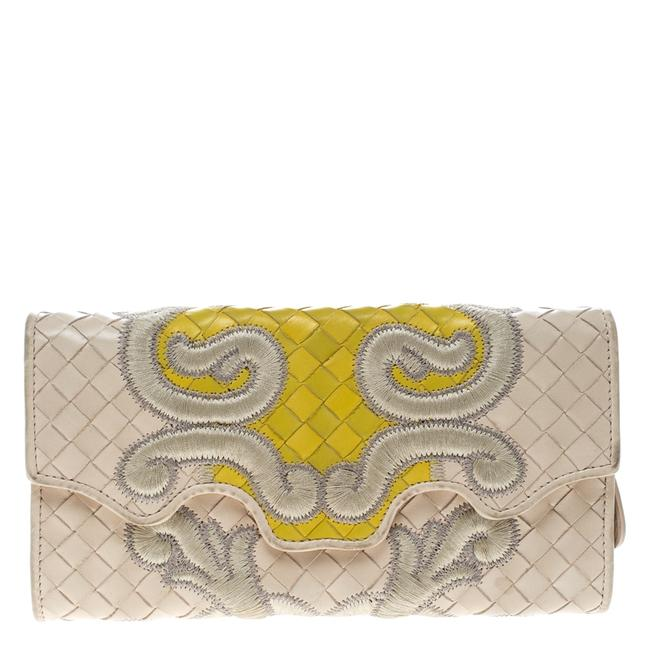 Item - Light Beige Intrecciato Embroidered Leather Continental Wallet