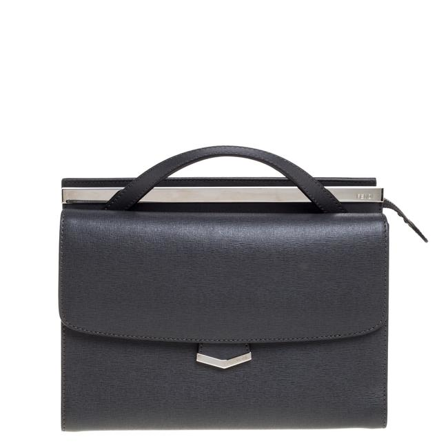 Item - Top Handle Bag Grey Textured Leather Small Demi Jour Wristlet