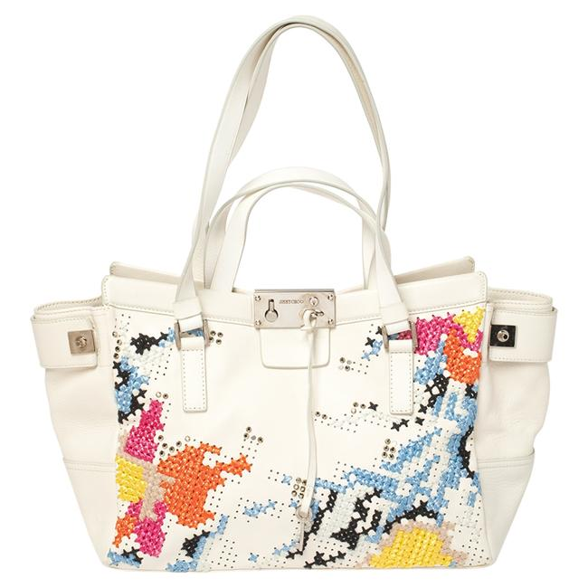 Item - White Cross Stitched/Embellished Leather Tote