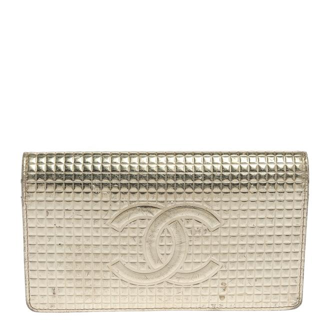 Item - Gold Cubes Quilted Leather Cc Flap Continental Wallet