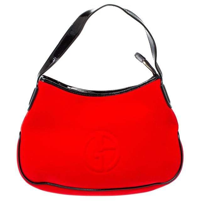 Item - Red/Black Neoprene and Patent Leather Hobo Bag