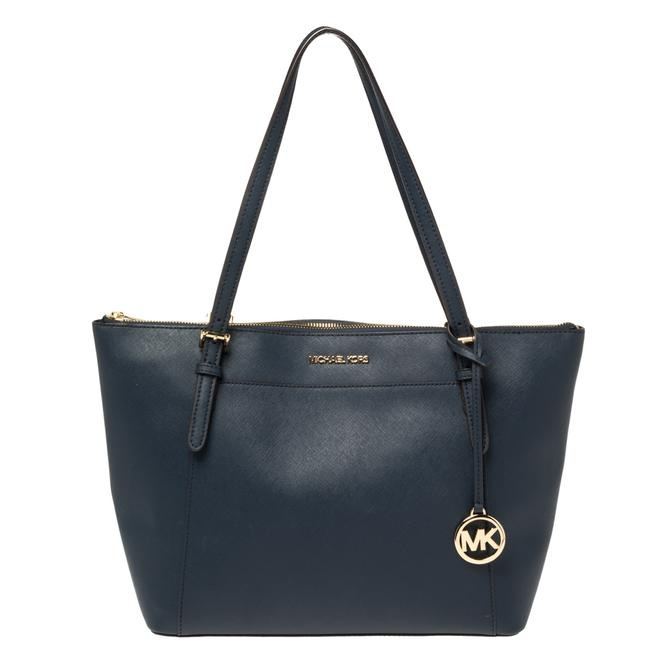 Item - Blue Leather Large Voyager East/West Top Zip Tote