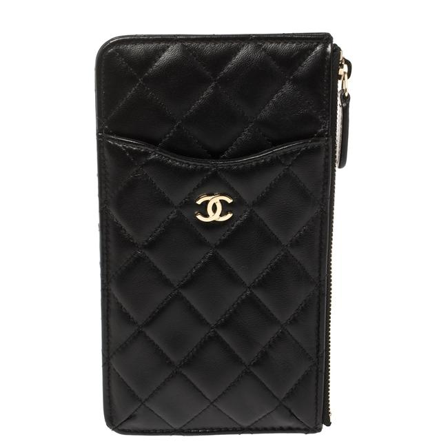 Item - Quilted Leather Cc Multi Functional Zip Pouch Clutch