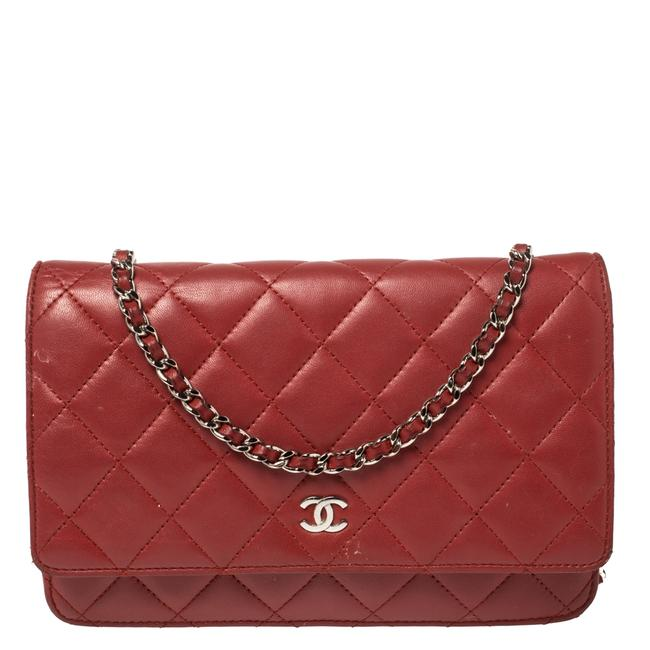 Item - on Chain Classic Flap Red Quilted Leather Cc Wallet