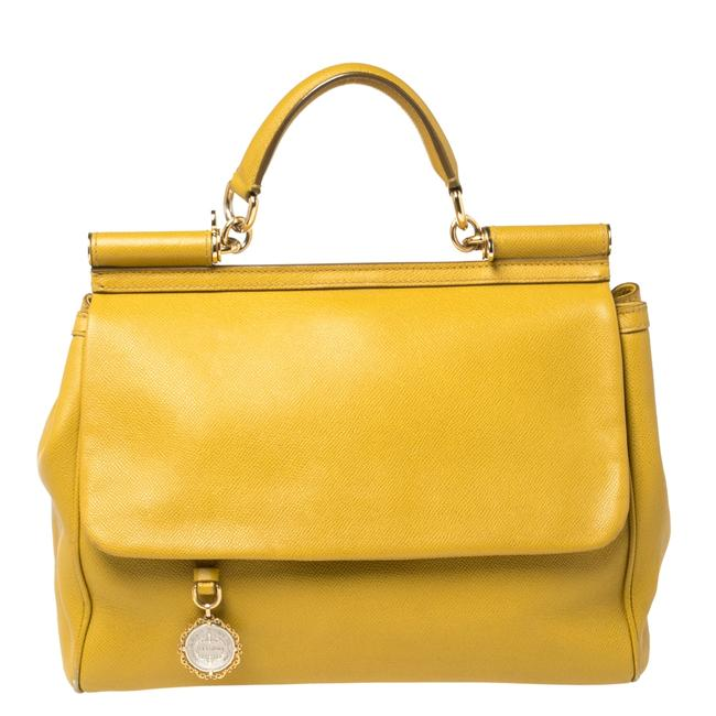 Item - Top Handle Bag Dolce & Gabbana Yellow Leather Large Miss Sicily Wristlet