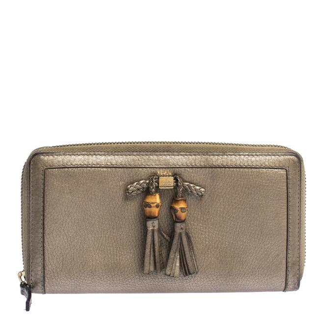 Item - Gold Leather Bamboo Tassel Bow Zip Around Wallet