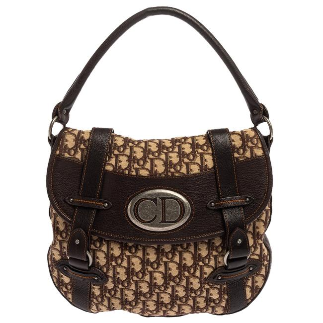 Item - Brown Oblique Canvas and Leather Cd Logo Flap Hobo Bag