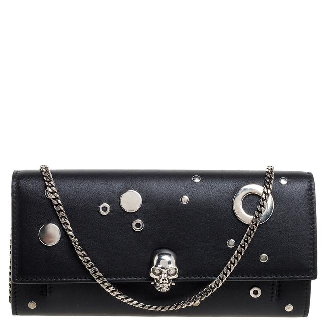 Item - on Chain Black Leather Eyelet Wallet