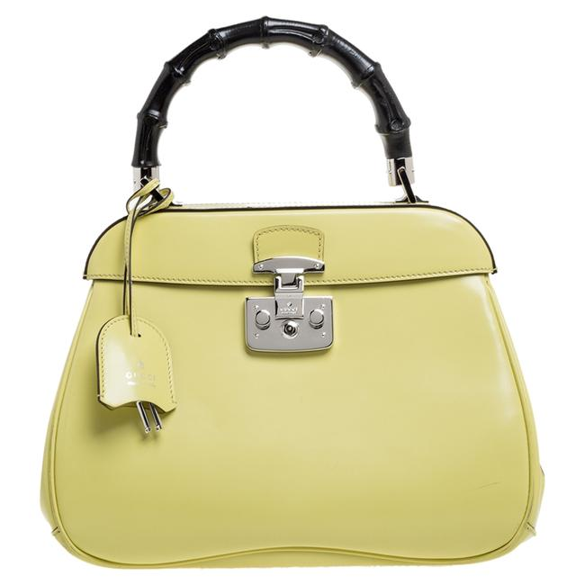 Item - Top Handle Bag Yellow Patent Leather Lady Lock Bamboo Wristlet