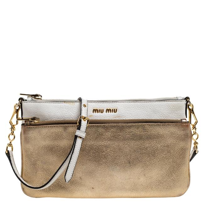 Item - Crossbody White/Gold Leather Double Zip Shoulder Bag