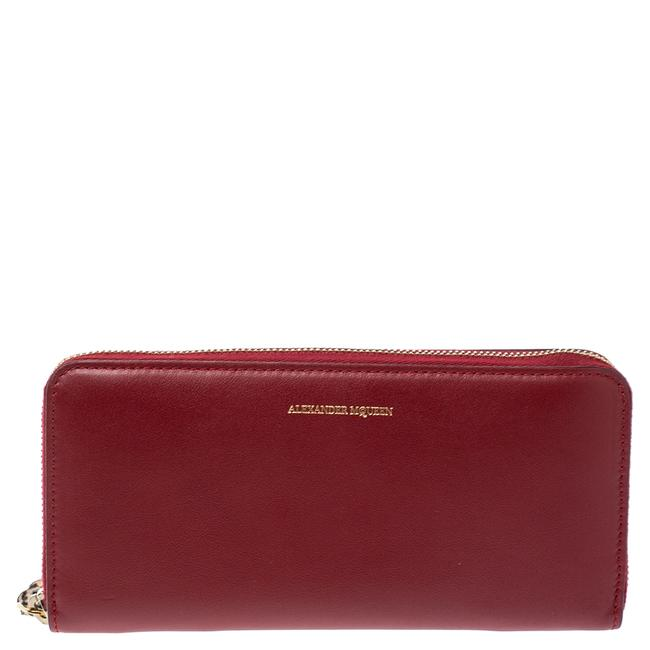 Item - Red Leather Zip Around Wallet
