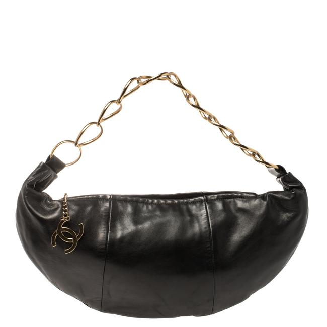 Item - Leather Chain Link Zip Hobo Bag