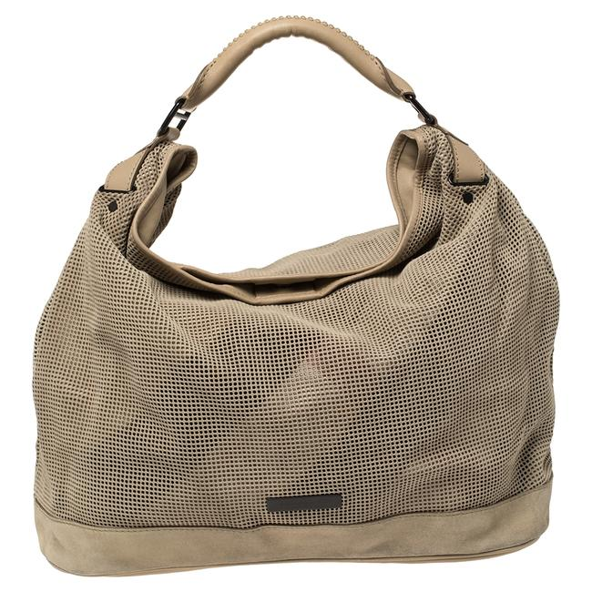 Item - Perforated Suede and Leather Oversized Hobo Bag