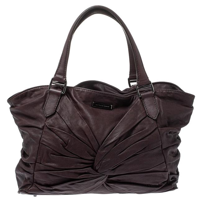 Item - Plum Soft Leather Knot Healy Tote