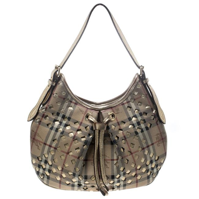 Item - Beige/Gold Pvc and Haymarket Check Cutout Drawstring Hobo Bag