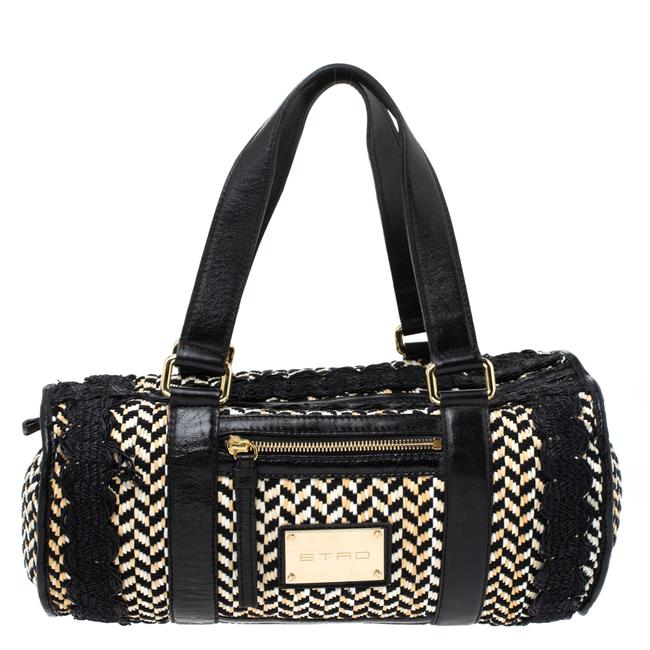 Item - Boston Bag Black/Beige Woven Straw and Leather Wristlet