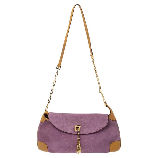 Item - Purple/Tan Suede and Leather Tiger Charm Shoulder Bag