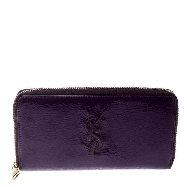 Item - Belle de Jour Yves Purple Patent Leather Zip Around Wallet