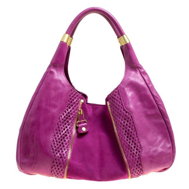 Item - Hot Pink Perforated Leather and Suede Mandah Hobo Bag