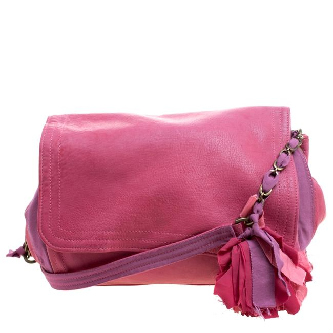 Item - Pink Leather and Fabric Shoulder Bag