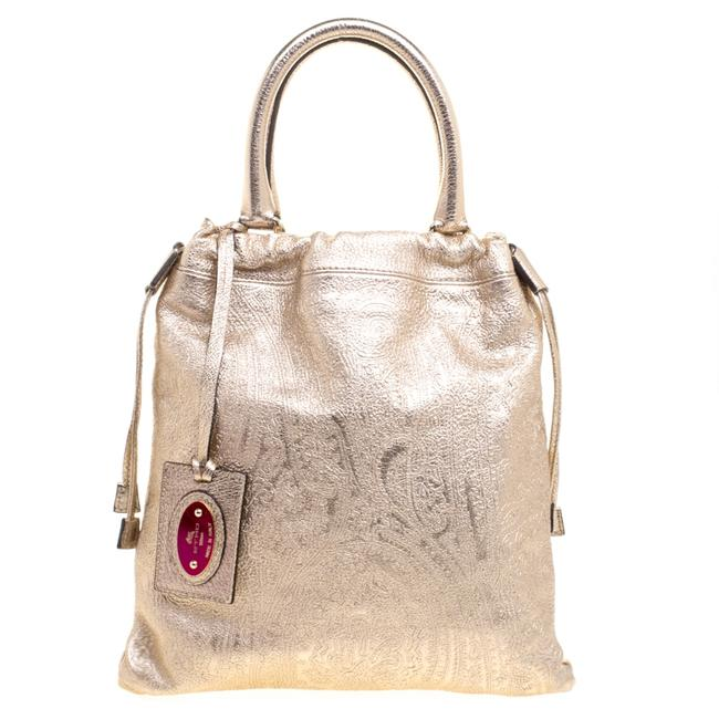 Item - Metallic Gold Paisley Embossed Leather Tote