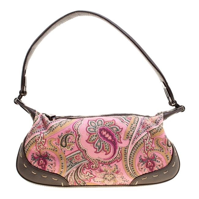 Item - Pink/Brown Printed Canvas and Leather Hobo Bag