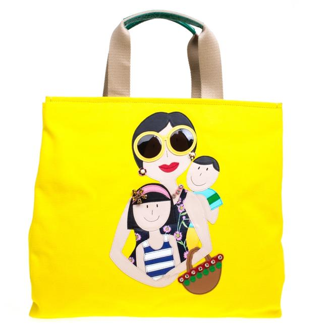 Item - Dolce & Gabbana Yellow Canvas and Leather Maria Shopper Tote