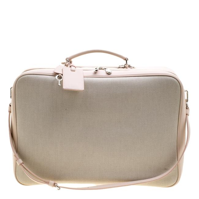 Item - Beige/Pink Canvas and Leather Nappy Suitcase Weekend/Travel Bag