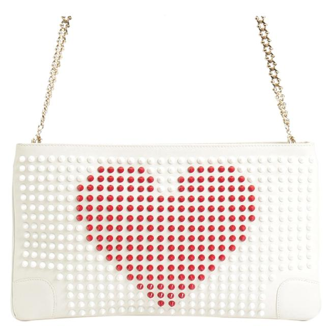 Item - White Leather Loubiposh Studded Clutch