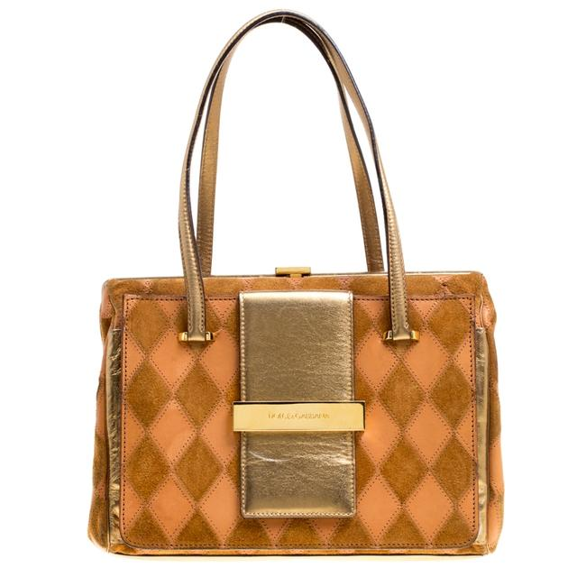 Item - Dolce & Gabbana Peach/Gold Quilted Stitch Leather and Suede Frame Bag Wristlet