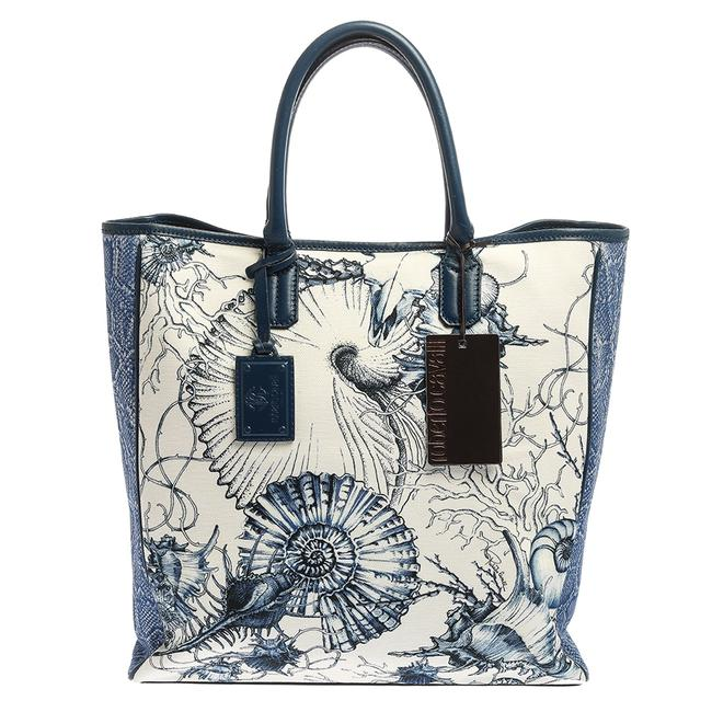 Item - Blue/White Printed Canvas and Leather Shopper Tote